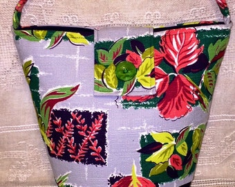 Vintage Mid Century Barkcloth Fabric Purse Handbag Shoulderbag Abstract Modern Floral Gray Pink Green Ginas Creations Original