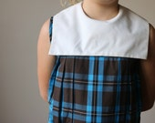 1960s Chocolate & Cobalt Plaid Dress~Girls Size 10/12