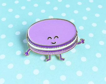 Macaron Enamel Pin - dessert french pastry purple food lapel