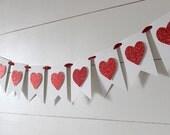 Valentine's Day Banner, Heart Banner, Valentine's Banner, Valentine's Decor, Glitter Banner - WHITE