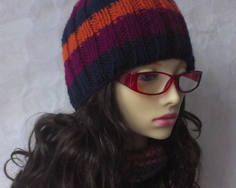 KNITTING PATTERN/SAM Womans Striped Ribbed 3 Color Beanie Easy Beginners Striped Hat Aran Worsted Striped Beanie Hat/ Striped hat Pattern