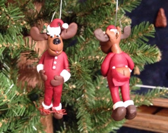 "Naked ""Naughty"" Mistletoe Moose - Unique, Funny and Jolly Christmas Ornament"