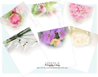 Floral Photo Note Cards Plain or Personalized