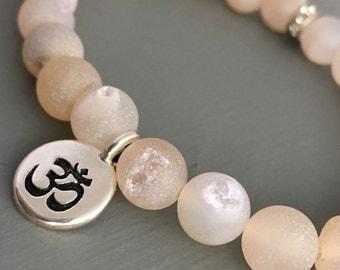 matte druzy agate mini mala bracelet with om charm, yoga bracelet, charm bracelet, white beaded bracelet, om bracelet, gemstone bracelet
