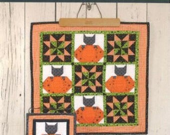 PATTERN OCTOBER HALLOWEEN Kitty Cat and Pumpkin Mini quilt in 2 sizes   We combine shipping