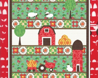 PATTERN TIME to HARVEST Barn Tractor Farm Silo Quilt with full sized templates