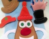SALE Mr or Mrs potato head addon package of hats for out Potato head felt game set educational game learning toy Eco-Friendly