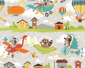 Little Flyers by Kelly Panacci for Riley Blake ~ Main print in Gray ~ Cute boy fabric with airplanes and more~ by the yard