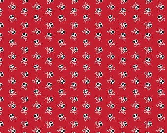 Riley Blake ~ Blackbeard's Pirates fabric ~ Skull and Crossbones on Red ~ by the yard