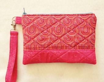 Wristlet Pink Fabric Handbag Clutch