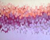 Bougainvillea, abstract art, oil painting, wall decor, home decor, wisteria, lavender, peach, original art