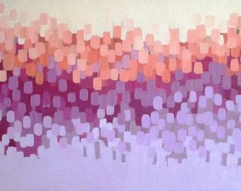 Abstract original oil painting, bougainvillea, wall decor, home decor, wisteria, lavender, peach, original art