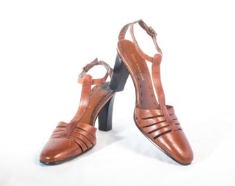 VTG 90's Brown Leather T Strap Heels size 6 Womens Mary Janes Honey Brown Strappy High Heels T-Straps