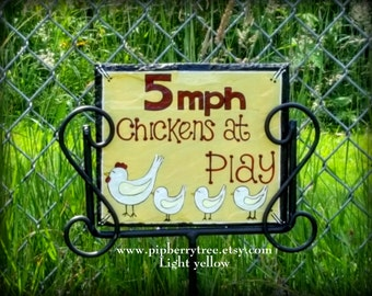 Chickens At Play Hand Painted Decorative Chicken Slate Sign/Decorative Chicken Yard Sign/Decorative Chicken Coop Sign/Chicken Coop Sign