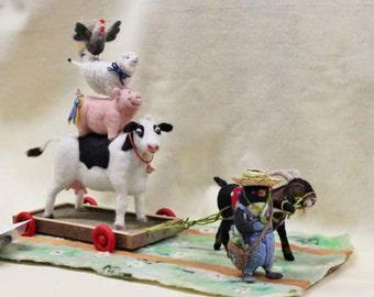 Needle Felted Animal Sculpture, NeedleFelted Cow, Pig,Sheep, Rooster, Goat, Penguin, Needle Felted Farm  #987