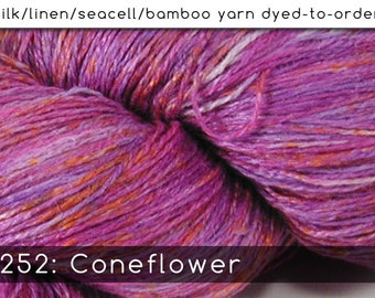 DtO 252: Coneflower on Silk/Linen/Seacell/Bamboo Yarn Custom Dyed-to-Order