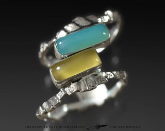 Cuttlefish Cast Sterling Silver Ring with Peruvian and Yellow