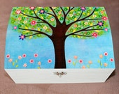 Tree Jewelry Box, Large Wooden Handmade Jewellery Box - Sunlight