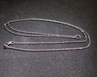 """Hand Oxidized Sterling Silver 1.3mm Rolo Chain 20"""""""
