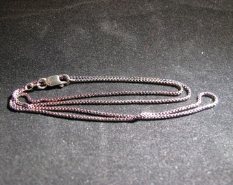 """Hand Oxidized Sterling Silver 1.1mm Rounded Box Chain 18"""""""