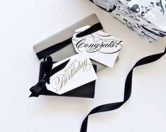 Boxed Celebrations Letterpress Gift Tags Gold and Licorice
