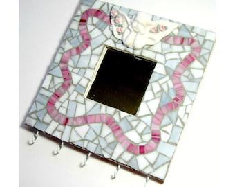 Angel Mosaic Mirror, Mosaic Wall Mirror Hooks, Angel Mosaic Hooks,  White Pink Mosaic Jewelry Hooks, Romantic Mirror, Cherub Mirror