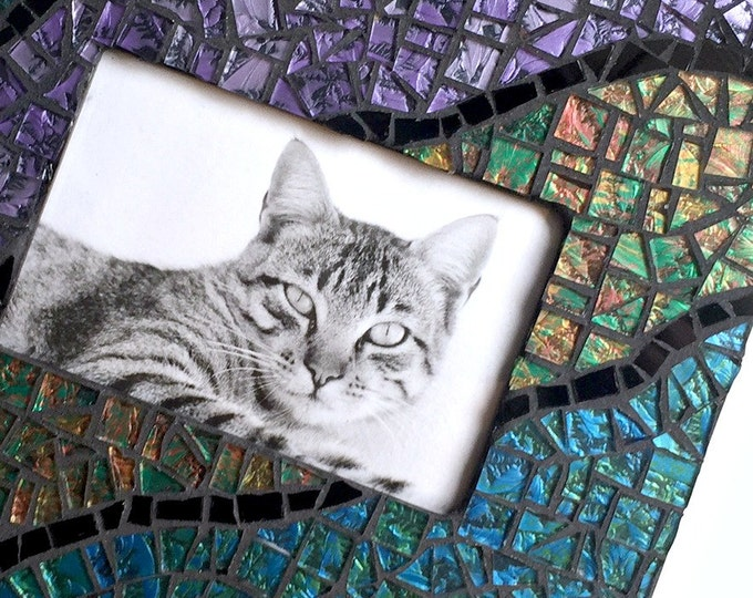Blue Green Purple Black Mosaic Picture Frame, Iridescent Van Gogh Glass Mosaic Frame, Cut Glass Mosaic Frame, 4 x 6 Horizontal Picture Frame