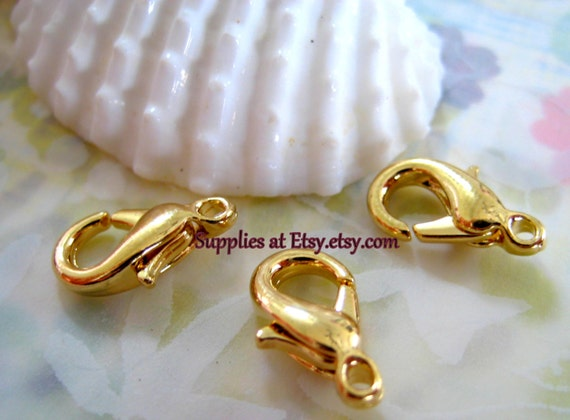 Ships FROM USA- Sale Bright gold  lobster clasp lead  Free-Gold Parrot clasp-Jewelry findings-Jewelry supplies-Diy Jewelry