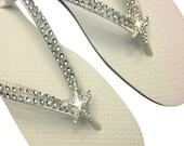 Bridal Flip Flops - Beach Wedding Flip Flops - Starfish Flip Flops - Wedding Flip Flops - Destination Wedding -  Wedding Beach Shoes
