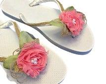 Coral Bridemaids Flip Flops - Bridal Party Flip Flops - Coral Flip Flips - Rustic Wedding - Beach Wedding - Bridesmaid Gift