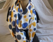 Blue and Yellow Polka Dot Cowl/Circle Scarf/Infinity Scarf (5395)