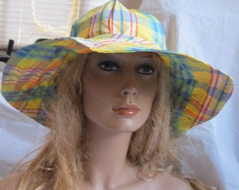 Yellow Plaid Sunhat (5339)