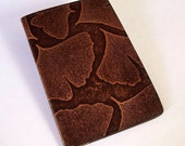 Leather Passport Case Wallet with Ginkgo Leaf Design - For U.S. and Canada Passports
