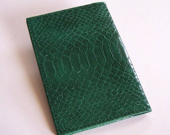 Green Leather Checkbook Cover - Faux Snakeskin Leather - Top-Stub Checkbook Cover