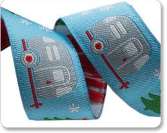 7/8-inch woven jacquard ribbon, adorable holiday camper