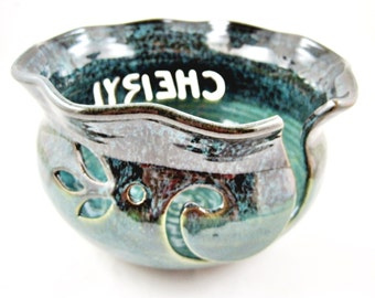 Yarn Bowl Personalized with a name or initial - Handmade to Order