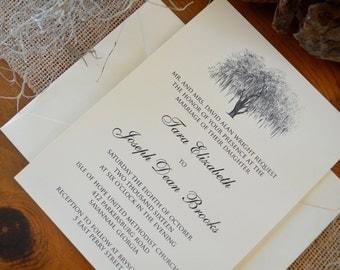 Traditional Savannah Hunter Oak Wedding Invitations
