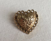 Vintage Style 1980s Rose Bud and Lace PUFFY HEART Gold Tone Brooch Pin