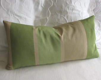 Stripes tan green decorative throw pillow cover 13x26