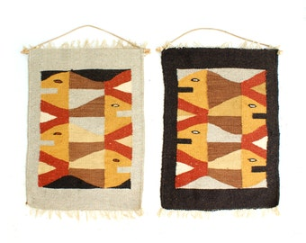 Mid Century Fish Tapestry Pair Danish Modern