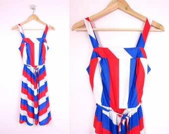 1970s All American Red White Blue Dress Size XS