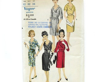 1960s Vintage Vogue Slim Dress Dress with Wrap Skirt and Belt / Vogue 5405 / Size 12 Bust 32 UNCUT FF