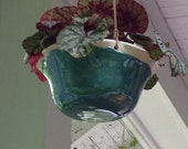 Turquoise Hanging Porcelain Planter