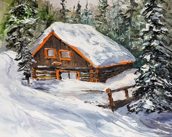 RUSTIC LOG CABIN Framed Original Oil Painting Snow Ski Skiing Mountains Scenic House Cottage Pine Trees Brighton Utah Resort Wasatch Winter