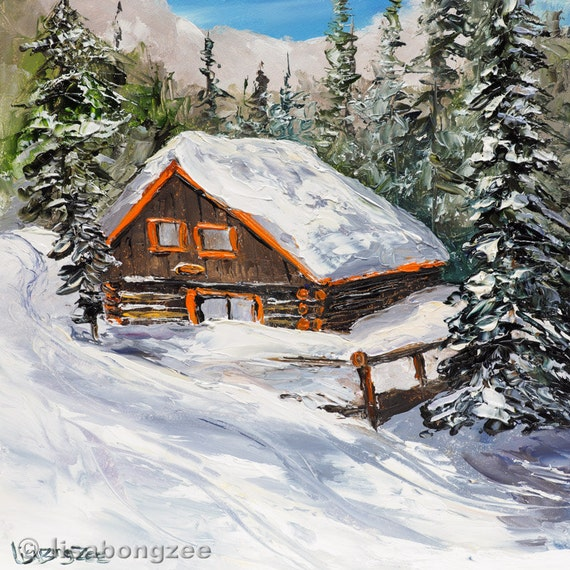 Rustic log cabin framed original oil painting snow ski skiing for Ski cottage