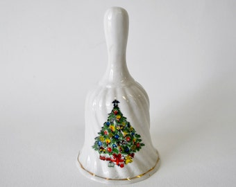 1980 vintage white porcelain Christmas bell with Christmas tree embellishment / teachers gift / gift for friend / gift embellishment