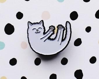 Cat Enamel Pin - cute white cat on black nickel pin back