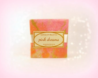 Pink Dreams Soap, Cold Process Soap, Handmade Soap, Phthalate Free, Palm Oil Free, White Sandalwood, Lily of the Valley, Strawberry, Citrus
