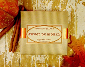Sweet Pumpkin Soap, Cold Process Soap, Bar Soap, Pumpkin Pie Scented Soap, Phthalate Free Soap, Handmade Soap, Bakery Soap, Palm Oil Free