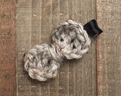 Hand-Crocheted Bow Hair Clip in Gray Marble